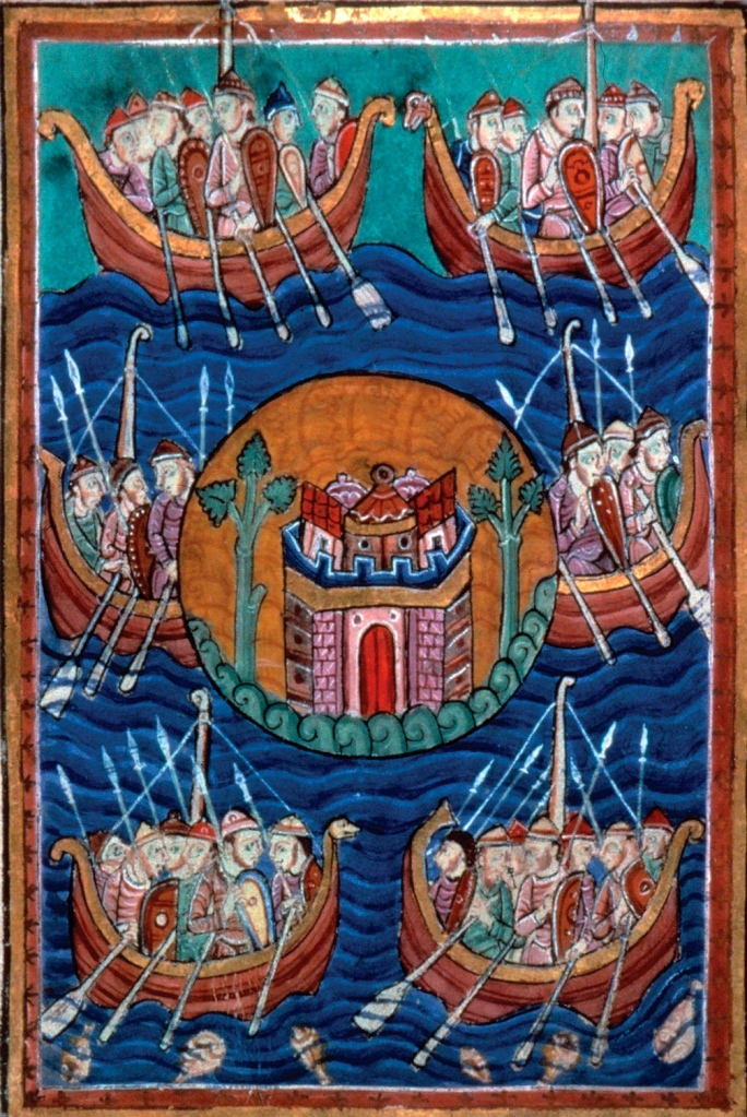 """Inspiration of Medieval Language & Literature- """"Life of St. Edmund"""" depicting arrival of Angles, Jutes, Saxons, & other Germanic tribes in England (manuscript illustration, 12th c., Pierpont Morgan Library)"""