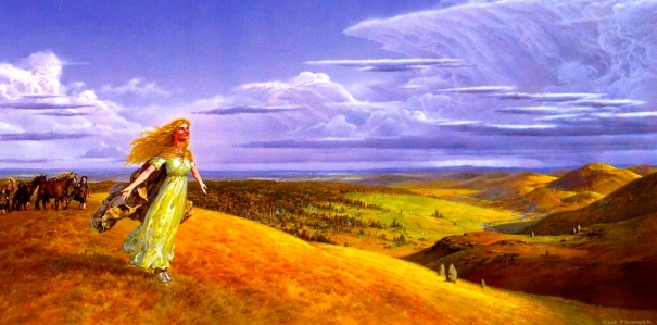 "J.R.R. Tolkien, ""The Fellowship of the Ring"" (""Beyond the Old Forest,"" by Ted Nasmith)"