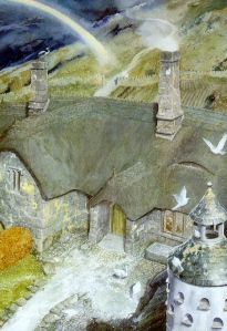 "J.R.R. Tolkien, ""The Fellowship of the Ring"" (""Tom Bombadil's House,"" by Alan Lee)"