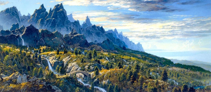 """J.R.R. Tolkien, """"The Return of the King"""" (""""The Hobbits' First Sight of Ithilien,"""" by Ted Nasmith)"""