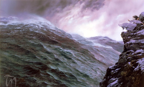 "Inspiration of Medieval Language & Literature? The Tempestuous Northern Seas of the Vikings...J.R.R. Tolkien, ""The Silmarillion"" (""Queen Tar-Miriel & the Great Wave,"" by Ted Nasmith)"