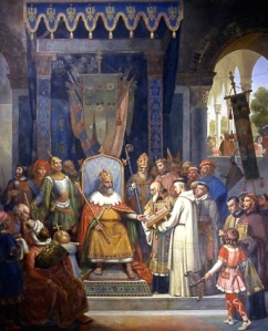 """Emperor Charlemagne 747-814 Surrounded by his Principal Officers, Receiving Alcuin (c.735-804) who is Presenting some Manuscripts made by his Monks"" (Jean-Victor Schnetz, 1830; oil on canvast, Louvre, Paris)"