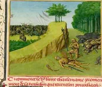 """Emperor Charlemagne Finds Roland's Corpse after the Battle of Roncevaux"" (Jean Fouquet, 1420-1481; Bibliothèque Nationale, Paris, France)"