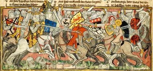 "Chansons de Geste: ""Charlemagne kills Moorish Leader"" (in Jacob van Maerlant, Spiegel Historiael, ms KA 20, fol. 213r, Koninklijke Bibliotheeek, The Hague)"