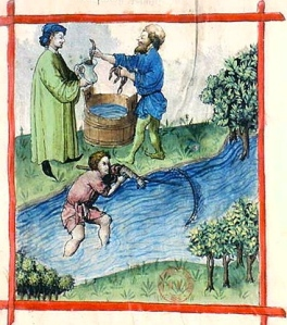 "Inspiration of Medieval Language & Literature: ""Chansons de geste"" (""Fishing lamprey,"" from ""Tacuinum Sanitatis,"" 15thc. illum. ms.)"