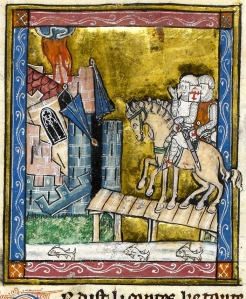 "Inspiration of Medieval Language & Literature: Chansons de Geste (""Garin le Loherain,"" Hervis de Metz, 13th c. illumin ms, Paris B.N. fr. 19160)"