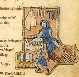 "Inspiration of Medieval Language & Literature: Chansons de Geste (""Baking Bread,"" Psalter illus., mid-12th c., Tempera/gold-leaf/inked on parchment, J. Paul Getty Museum, Ms. 14, fol. 8v.)"