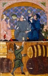 "Inspiration of Medieval Language & Literature: Chansons de Geste (""Tavern Scene,"" Illum. ms, Brit. Lib., Add. 27695, f. 14)"