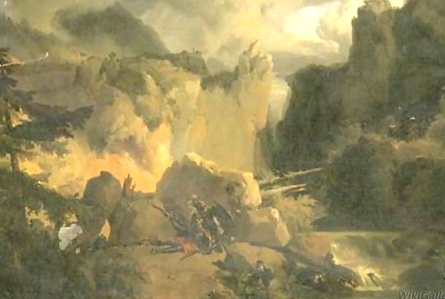 "Inspiration of Medieval Language & Literature: Chansons de Geste (Achille-Etna Michallon, d. 1822, ""Roland & Oliver at Battle of Roncesvalles,"" oil on canvas)"
