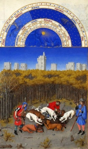 "Inspiration of Medieval Language & Literature: Daily Life in the Chansons de Geste (""Boar Hunt, December,"" from ""Très Riches Heures du Duc de Berry, c. 1412-16)"