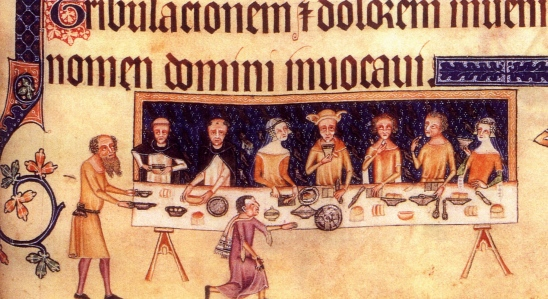 "Inspiration of Medieval Language & Literature: Daily Life in the Chansons de Geste (""Dining,"" from the Luttrell Psalter, c. 1320-40, Brit. Lib., Add. MS 42130)"