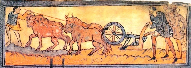 "Inspiration of Medieval Language & Literature: Daily Life in the Chansons de Geste (""January, Ploughing with Oxen"" from The Anglo-Saxon Calendar, 1025-50, MS Cotton Tib. B. V, pt I, fol. 3, British Library)"