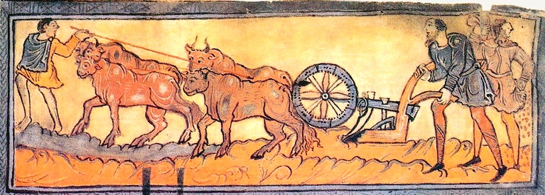 """Inspiration of Medieval Language & Literature: Daily Life in the Chansons de Geste (""""January, Ploughing with Oxen"""" from The Anglo-Saxon Calendar, 1025-50, MS Cotton Tib. B. V, pt I, fol. 3, British Library)"""
