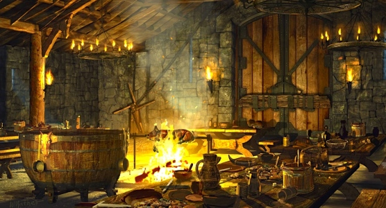 "Inspiration of Medieval Language & Literature: Chansons de Geste (""Food & Society,"" in ""Beowulf""; Bill Mather concept art for 1999 film)"