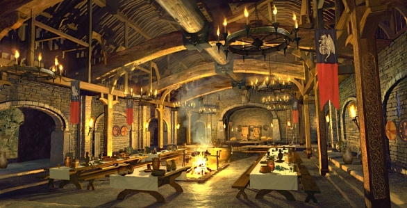 "Inspiration of Medieval Language & Literature: Chansons de Geste (""Food & Society,"" in Beowulf; Norm Newberry concept art for 1999 film)"