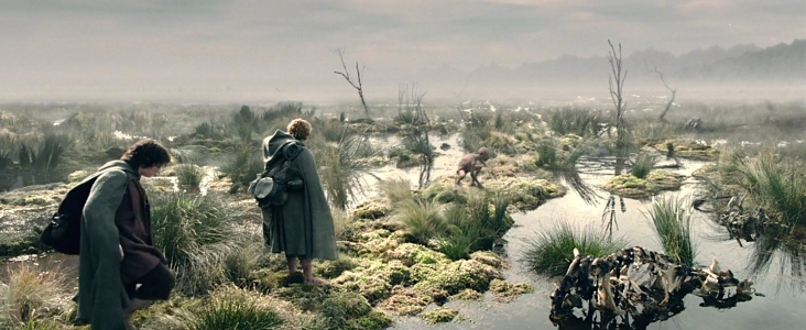 """""""Frodo, Sam, & Gollum in the Dead Marshes"""" (Elijah Wood, Sean Astin & Andy Serkis in Peter Jackson's """"The Two Towers,"""" New Line Cinema, 2002)"""