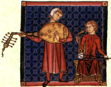 "Inspiration of Medieval Literature & Language: Chansons de Geste, ""Minstrels Playing Oud & Rabab"" (illum. ms, ""Cantigas de Santa Maria,"" 13th century)"