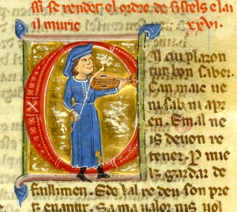 "Inspiration of Medieval Language & Literature: Chansons de Geste, ""Troubadour Perdignon Playing his Fiddle"" (Bibliothèque nationale de France, ms. 854, fol. 49; 13th century)"