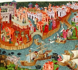 """Inspiration of Medieval Language & Literature: Cultural Interaction: """"Marco Polo sailing from Venice in 1271"""" (c. 15th century; Bodleian Library, Oxford)"""