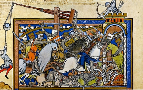 """Inspiration of Medieval Language & Literature: The Chansons de Geste (""""Medieval Warfare: Saul's Destruction of Nahash & Ammonites (1 Samuel 11:11) in French setting; c. 1250)"""