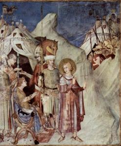 "Inspiration of Medieval Language & Literature: ""St. Martin Renounces Army & Chivalry"" (fresco, SImone Martini, 14th c.)"