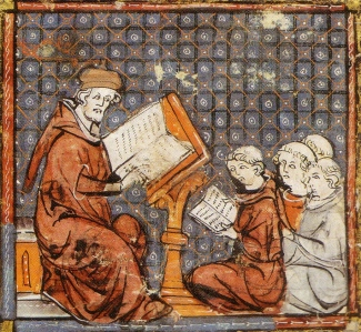 """Inspiration of Medieval Language & Literature: Medieval Students (""""Teaching at Paris,"""" from """"Grandes Chroniques de France,"""" 14th c.)"""