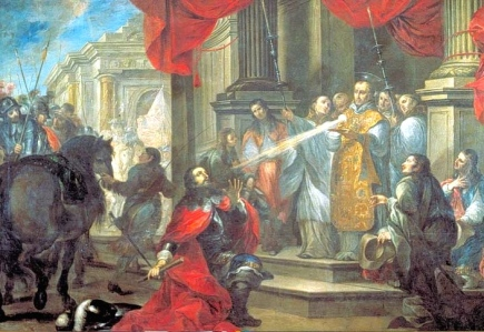 """Inspiration of Medieval Language & Literature: The Chivalric Age (""""Conversion of Duke William of Aquitaine by St. Bernard of Clairvaux,"""" by Vicente Berdusán y Osorio, 1673)"""