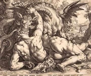 "Inspiration of Medieval Language & Literature: The Latin Poem, ""Ovid's Metamorphoses"" (Dragon devouring companions of Cadmus)"