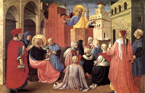 "Inspiration of Medieval Language & Literature: ""Ars praedicandi,"" or, ""Preaching"" (Here, ""St. Peter Preaching in Presence of St. Mark,"" Fra Angelico, ca. 1433; Predella of the Linaioli altarpiece)"