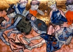 """Inspiration of Medieval Literature: The Song of Roland:  """"Charlemagne Finds Roland"""" (14th C. French miniature)"""