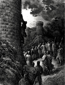 "Medieval Lang & Lit: Chansons de Geste: ""Bohemond alone mounts the rampart of Antioch"" (Gustave Doré, d. 1883)"