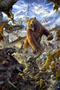 """J.R.R. Tolkien, """"The Hobbit"""" (""""The Battle of Five Armies,"""" art by Matt Stewart, Tolkien Gateway)"""