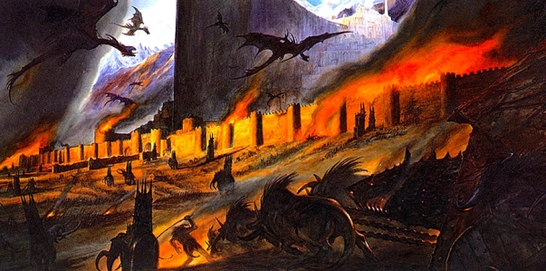 "J.R.R. Tolkien, ""The Return of the King"" (""The Siege of Minas Tirith,"" by John Howe)"