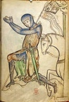 Kneeling Crusader (British Library, Royal 2 A. XXII., f.220; England (Westminster or St. Albans, c. 1250)