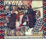 "Inspiration of Medieval Language & Literature: Chansons de Geste (""Alfonso X, the Wise,"" 13th c. ms, Codex Rico, Cantiga 63, Fol. 92R)"