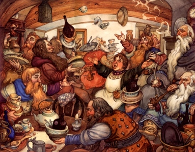 "J.R.R. Tolkien, ""An Unexpected Party,"" from ""The Hobbit"" (art by David Wenzel)"