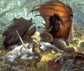 "J.R.R. Tolkien, ""The Return of the King"" (""Eowyn & the Lord of the Nazgul,"" Donato Giancola, 2010)"