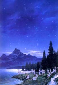 "J.R.R. Tolkien, ""The Silmarillion"" (The Avari on Shore of Cuiviénen, on Sea of Helcar; art by Ted Nasmith)"