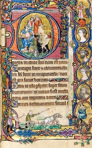"""The Long Reach of Medieval Latin (Macclesfield Psalter, """"David & the Fool, the ploughing scene, & a portrait gallery,""""; Cambridge, Fol. 77, recto; 14th century)"""