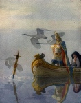 """And when they came to the sword that the hand held, King Arthur took it up."" (illus. by N.C. Wyeth, from Malory's ""The Boy's King Arthur,"" 1917)"
