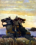 """Lancelot & Guinevere"" (illus. by N.C. Wyeth, from Malory's ""The Boy's King Arthur,"" 1917)"