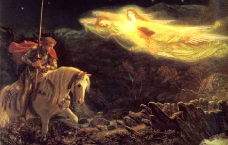 """The Quest for the Holy Grail"" (oil painting, Arthur Hughes, d. 1915)"
