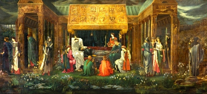 """The Sleep of King Arthur in Avalon"" (Edward Coley Burne-Jones, oil on canvas, 1898)"