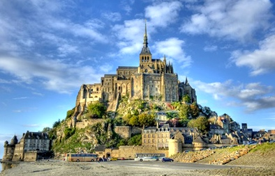 6th-7th Transmission of Arthurian Legend? Medieval Mont Saint-Michel as crossroads between early medieval British & French cultures (Benedictine monastery on mound in Brittany, a high-tide in the English Channel)