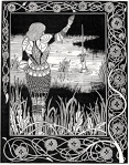 "Sir Bedivere returning Excalibur (art by Aubrey Beardsley, in Sir Thomas Malory's ""Le Morte D' Arthur"")"
