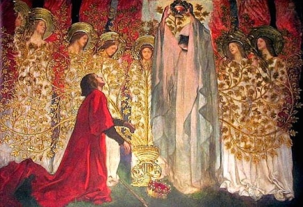 "The Grail Found: ""Galahad & the Dying Amfortas"" (Edwin Austin Abbey, 1895)"