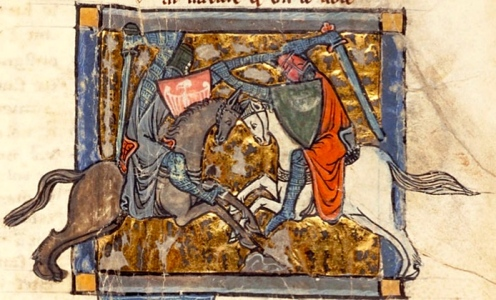 "Arthurian Knights: ""Yvain vs. Gawain"" (""Yvain, le Chevalier au Lion,"" c. 1170s, Garrett MS, no.125, Princeton)"