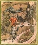 Cei and Bedwyr with the Salmon of Llyn Llyw come to Caer Loyw to rescue Mabon