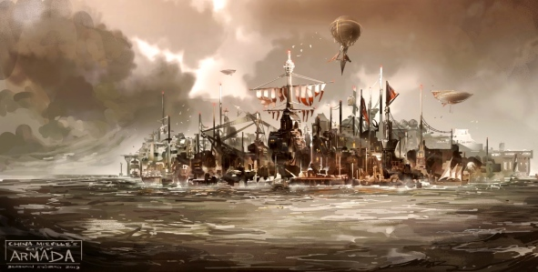 "China Miéville,  ""The Scar"" (""Pirate City of Armada,"" art by Benjamin, http://thelakeandmountain.blogspot.com/2013/03/its-been-while.html)"