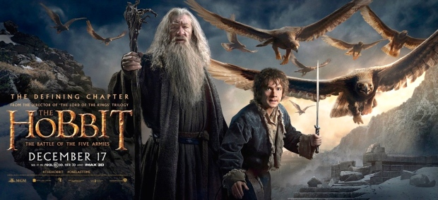 "Ian McKellan (Gandalf) & Martin Freeman (Bilbo) in Peter Jackson's ""The Hobbit: The Battle of the Five Armies (New Line Cinema & Warner Bros., 2014)"